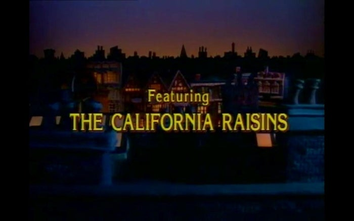 Featuring the California Raisins! I remember that being a thing back then. Borderline racist singing raisins. Crazy how popular they were during the late 80's. I never understood why they would support a company that promoted the wholesale slaughter of their brethren. #SelfHatingSentientDriedGrapes