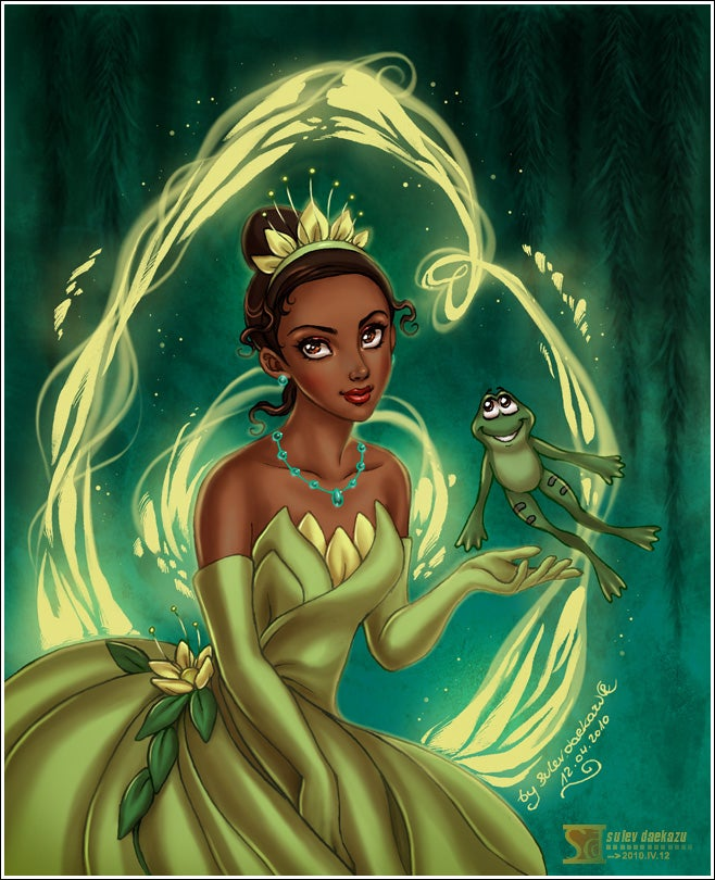 This picture just shows how flawless Tiana is. From her deep, brown eyes to her luscious lips, Tiana is a beauty. Also, gotta love that dress. By one of my favorite artists, daekazu.What really makes this picture are the colors. The vibrant greens inspire magic. Also, the details of Tiana's jewelry are great and I love her dark, deep eyes. Daekazu is great at drawing eyes.