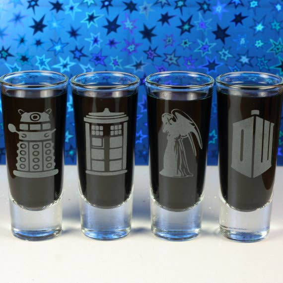 Oh, you like drinking? Well, then you need a shot glass! You might as well have one with the TARDIS on it!