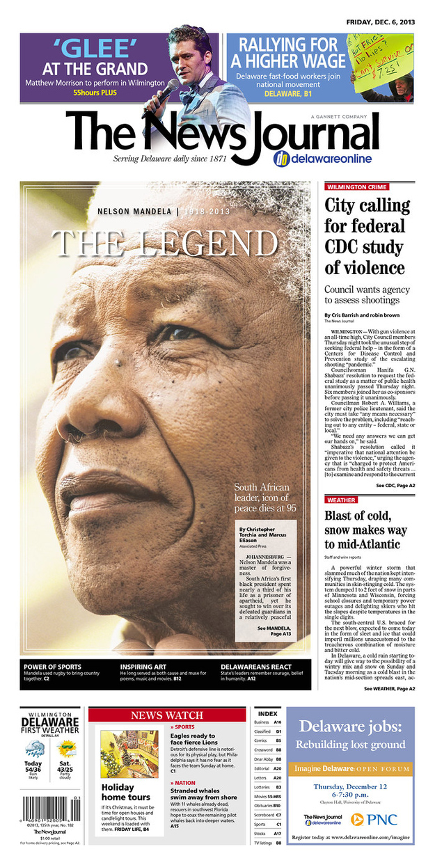 21 Moving Local Newspaper Front Pages On The Death Of Nelson Mandela