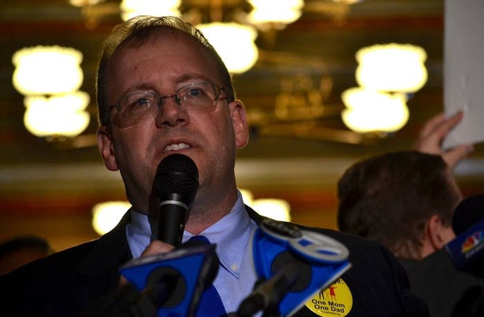 Peter LaBarbera speaking at an Oct. 22 rally opposing marriage equality in Illinois.