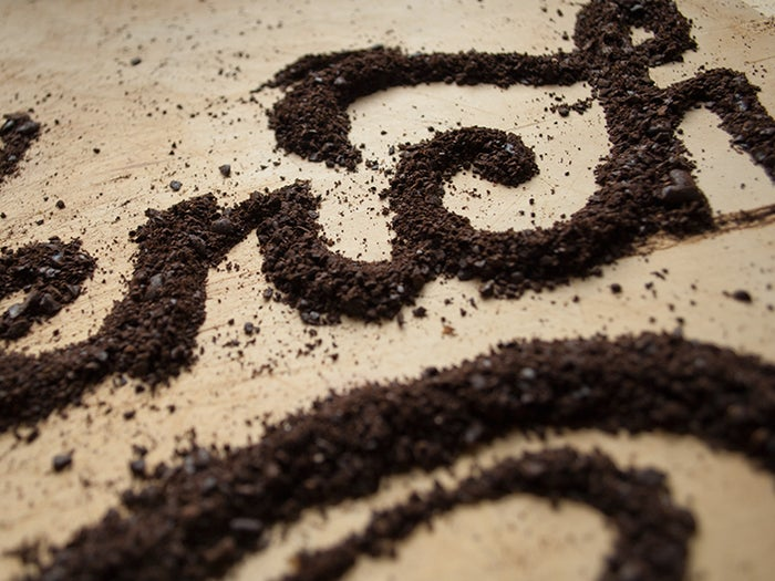 """""""Impulsive lettering created with Starbucks Komodo Blend, ground to french press coarseness and perfection."""""""