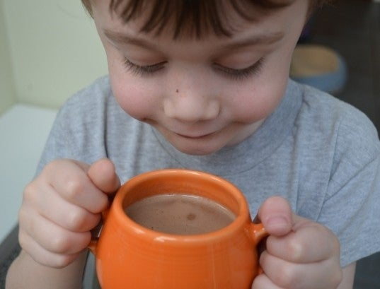 Using powered hot cocoa mix? Dump it in the cup, then add just a little hot water. Stir, stir, stir. Then add a little more hot water. Repeat until full and smooth and creamy and clump-free. Mmmmmm.