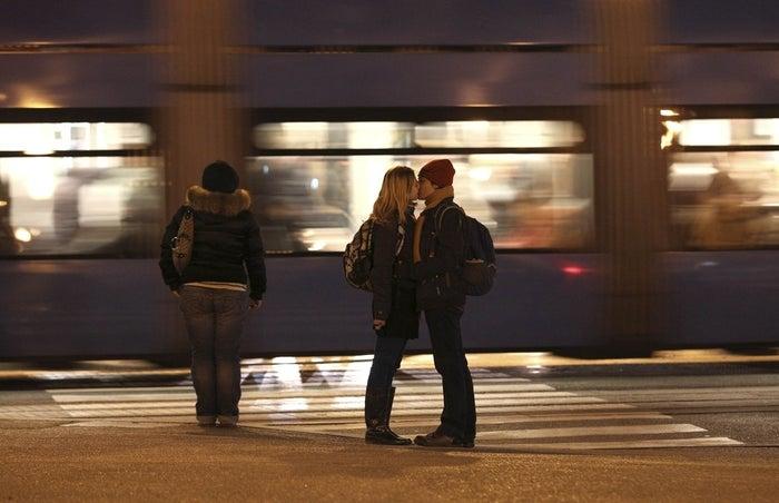Couple Mima Simic and Marta Sisak kiss in Zagreb.