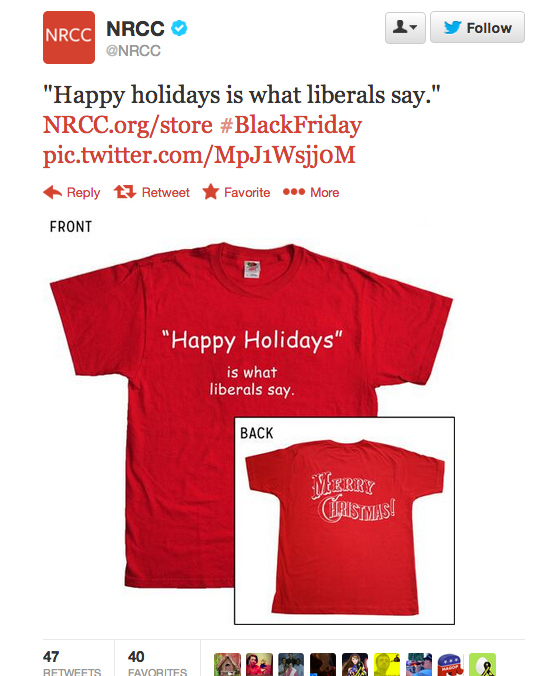 """NRCC's """"Happy Holidays Is What Liberals Say"""" Shirt Removed From Website"""