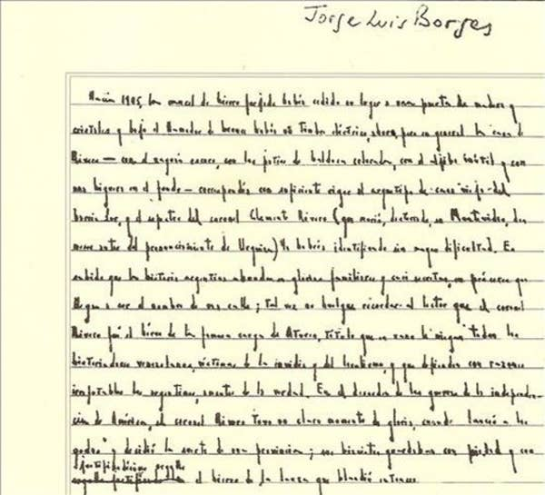 the very weird handwriting of very famous authors jorge luis borges