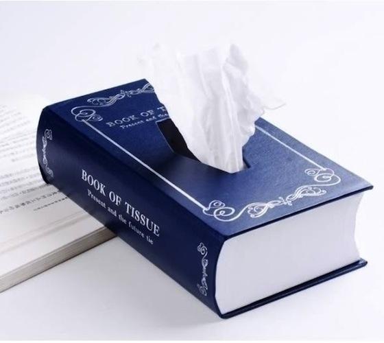 Caixa de lenços de papel em forma de livro.