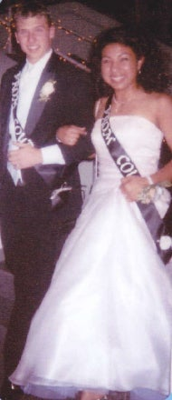 Our Junior Prom - we didn't go together, but we were both in Prom Court and were paired up together. You asked me to hold you up and make sure you didn't fall down the stairs.
