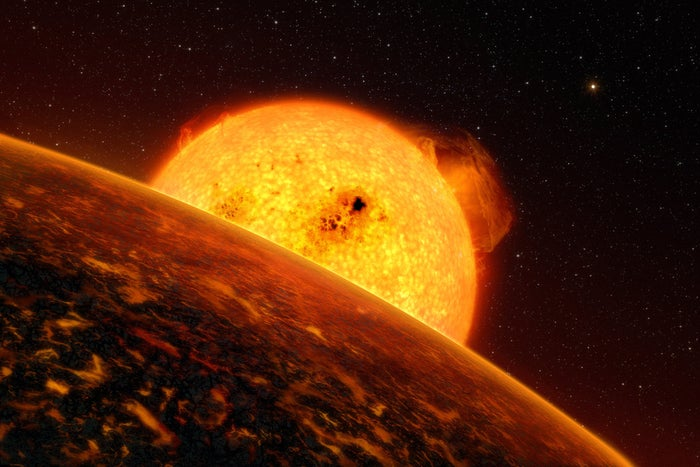 When it rains on COROT-7b, it rains lava… 'Nuff said? Well, it gets worse: COROT-7b, which is 489 light-years from Earth and about 1.5 times our size, is estimated to be around 4,500 degrees F! The exoplanet is so close to its star that its year lasts only 20 hours on Earth (That's less than a day on Earth!) and its surface is probably a welcoming mixture of volcanoes, lava, rocks, and suffocating gasses. Okay, 'nuff said!