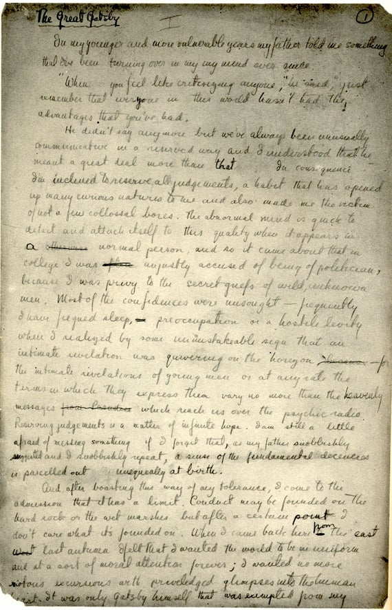 A handwritten page of the classic The Great Gatsby written in Great Girly writing