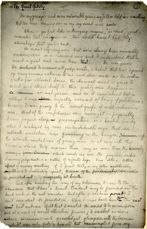 A Handwritten Page Of The Classic Great Gatsby Written In Girly Writing