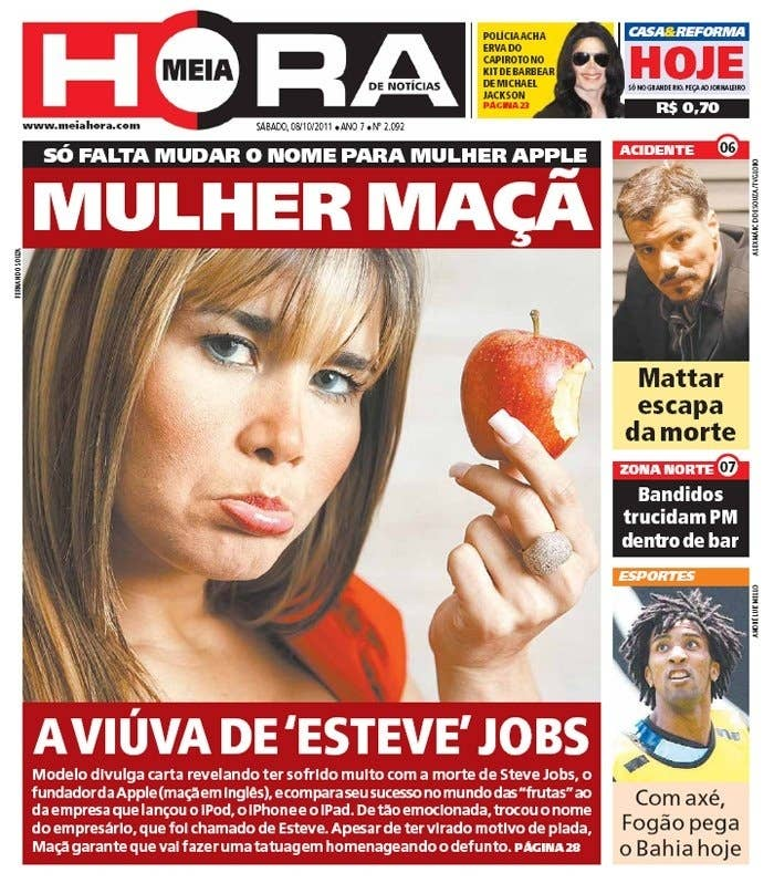 ... e a Mulher Maçã lamentou a morte dele enviando um comunicado para os jornais e chamando o criador da Apple de Esteve Jobs.