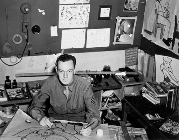 He would serve in the Army for the duration of World War II until 1945 serving stateside as part of the Signal Corps where he would write manuals, training film scripts, and slogans for the Army's World War II home front efforts. Occasionally he would also do cartooning while part of the Signal Corps.