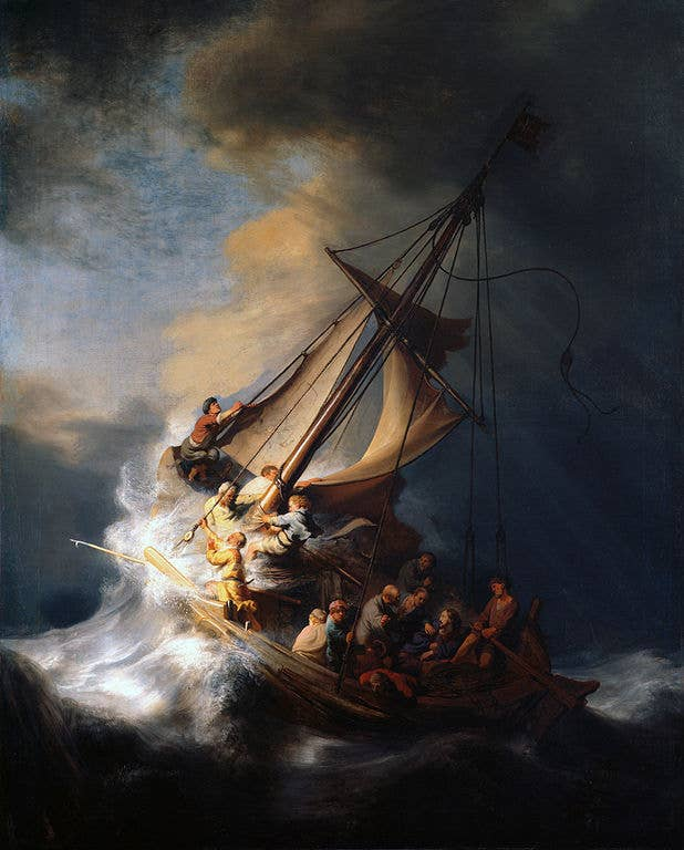 Also stolen from the Isabella Stewart Gardner Museum in Boston. Known as Rembrandt's only seascape painting.