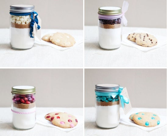 You don't have time for baking! Toss the ingredients for your fave cookies into a mason jar and then conveniently invite yourself over to your neighbor's place to partake in the results.