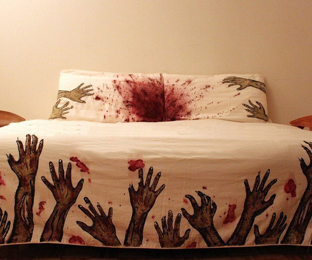 Soon, everything in your world will be covered in blood and there will be cold, rotting hands grabbing at you 24/7. Why not start getting ready for that now with this delightful bedding set? $40-160