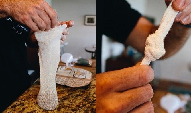 Put said magic ingredients in the sock-like baggie