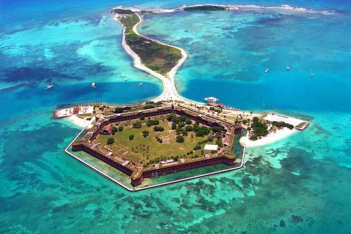 It may have been built around the time of the Civil War, but Fort Jefferson it's clearly a tropical retreat for a Bond villain. You can even camp there.