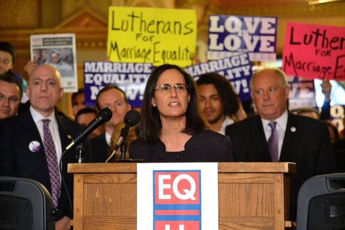 Illinois Attorney General Lisa Madigan at an October marriage equality rally.