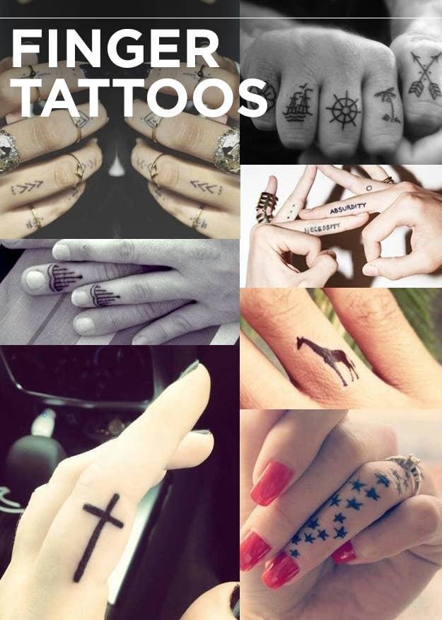 Finger tats are the new knuckle tats.Dots and V's | knuckle tattoos | cross tattoo | stars | giraffe | necessity/absurdity | henna
