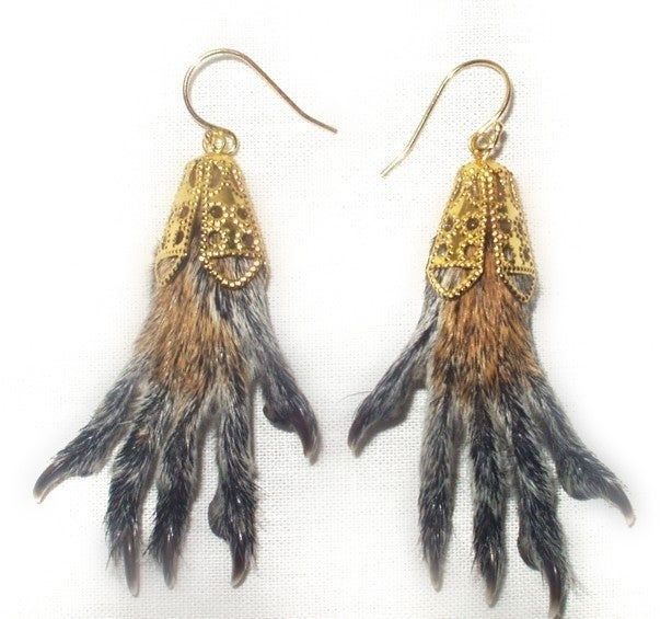 All I want for Christmas are squirrel foot earrings... said no one ever. Unless you have a virulently vegan/PETA activist you want to horrify, pass these by.
