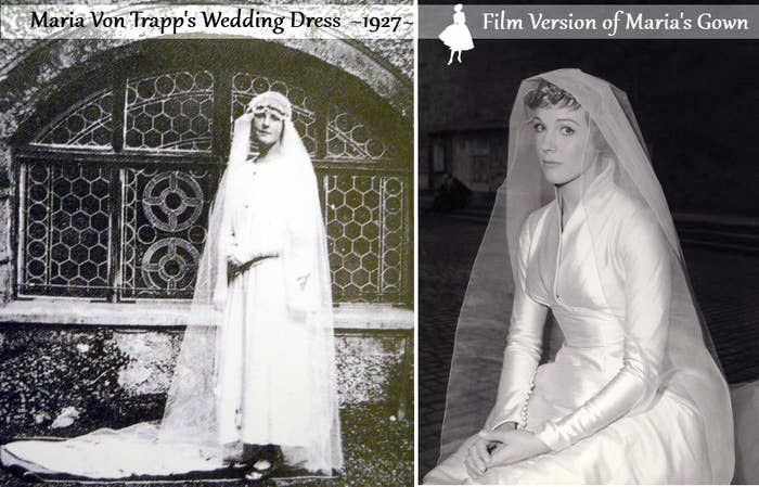In the film Maria's wedding train was 14 feet long!When setting up for filming the Captain and Maria's wedding scene, there was nobody at the altar to wed them when they reached the top of the stairs. Someone had forgotten to summon the actor playing the bishop. According to Julie Andrews, the real bishop of Salzburg is seen in the movie.