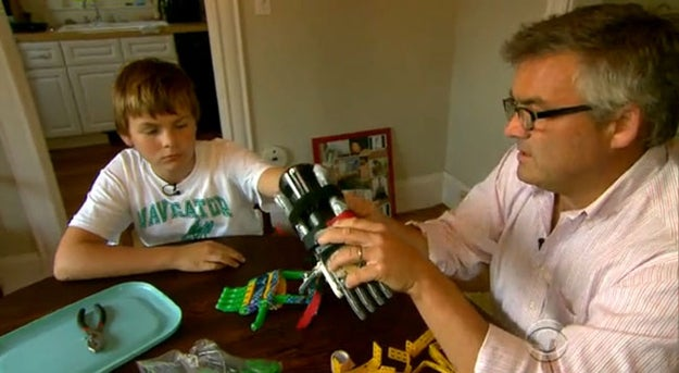 When faced with paying a $30,000 fee for a new prosthetic hand for his son Leon, father Paul McCarthy instead used instructions from the internet and his friend's 3D-printer to build one himself for the princely sum of $10. Go dad!