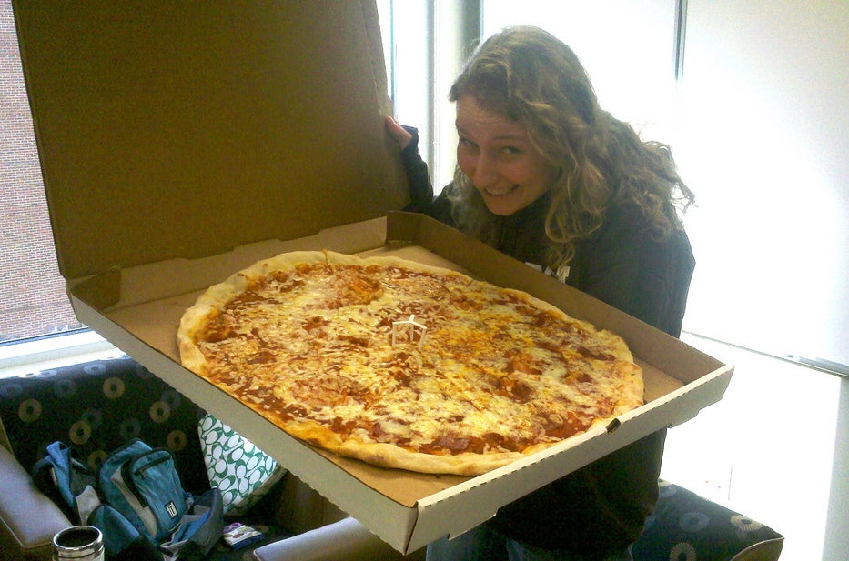 Large pizza in America.