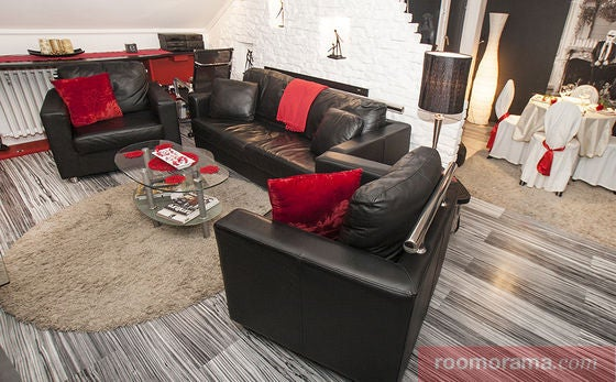 Unless you're a vampire, don't do this. One of the most common and overused color combinations we've seen in a guy's apartment? Red, black, and white. Or black, white, and blue.