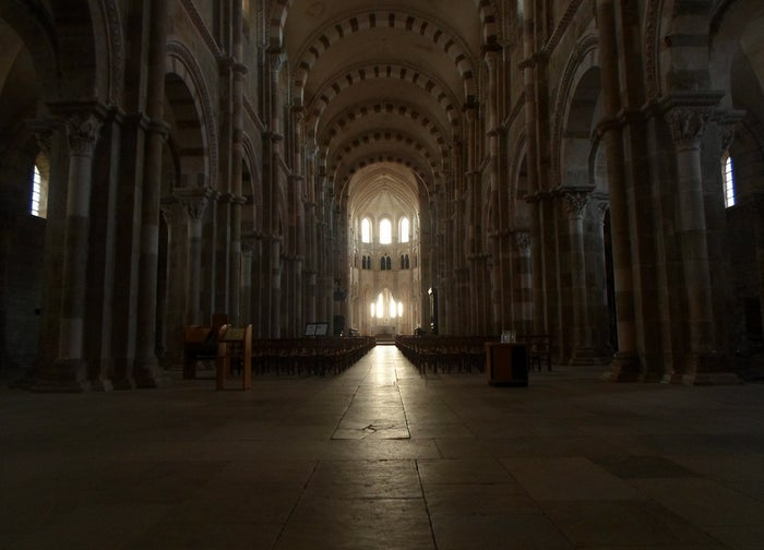 900 years ago an abbey was built atop a rough hillside in Burgundy. Some genius architect decided to set the axis of the church so that when the sun rises in the morning the interior is blazed in light. From Vezelay to Santiago de Compostela it's about 1,600 km, or 1,000 miles.