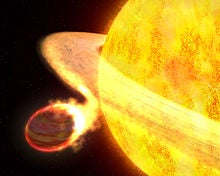 """Gas giant """"WASP-12b"""" is certainly not the best place to be. The planet shouldn't even exist says some astronomers! The planet is so close to WASP-12 (WASP-12b's parent star) that the star's tidal forces are distorting the planet into an egg shape and striping it's atmosphere away at a rate of about 189 quadrillion tons per year! This planet is one of the hottest planets that humans have EVER discovered! Its temperature ranges from 3,800-4,100 degrees (You could bake a pizza in less than 7 seconds!)! The reason why WASP-12b is a head-scratcher to scientists is because it's a gas planet, gas planets typically form 100's of millions of miles away from it's parent star. Astonishingly, WASP-12b is wayyyy larger than Jupiter and lies only a little over 2 million miles away! That's closer than Mercury is to our sun! How did this beast of a planet get there?"""