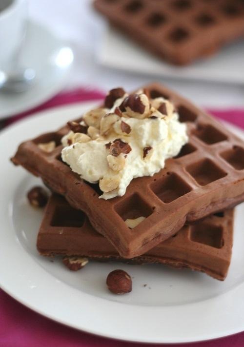 Gluten-Free Chocolate Hazelnut Protein Waffles