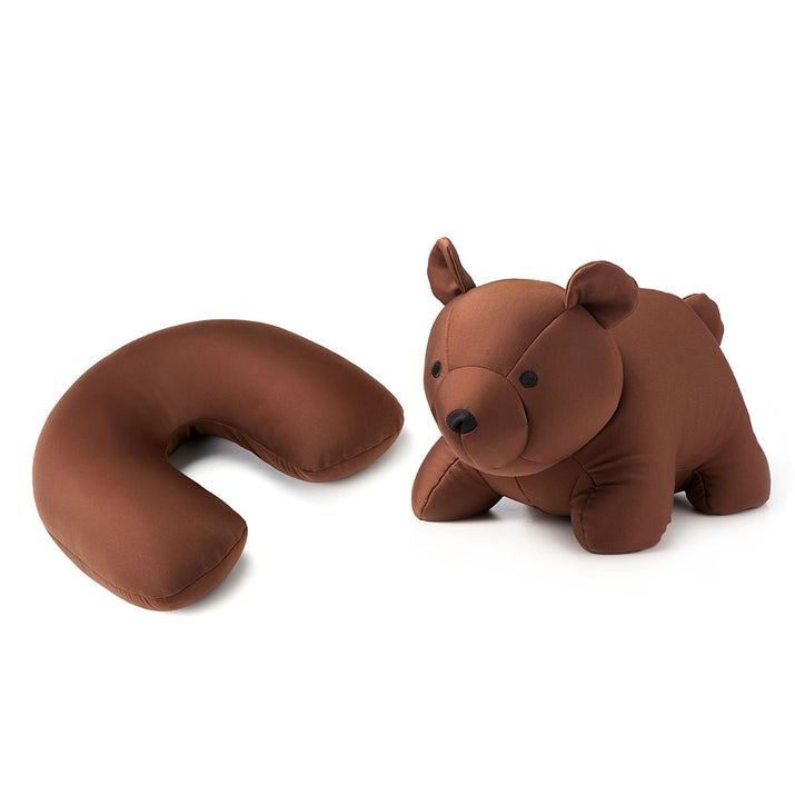 Sometimes, traveling gets real lonely. That's why this travel pillow/bear exists so you won't get the travel blues. Turn the pillow inside out and voilà! It's a cuddly bear! Get your friend here for $24.