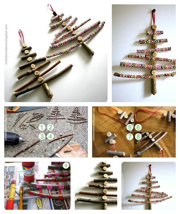 Make little hanging tree ornaments with this tutorial. Use plane twigs or paint them with