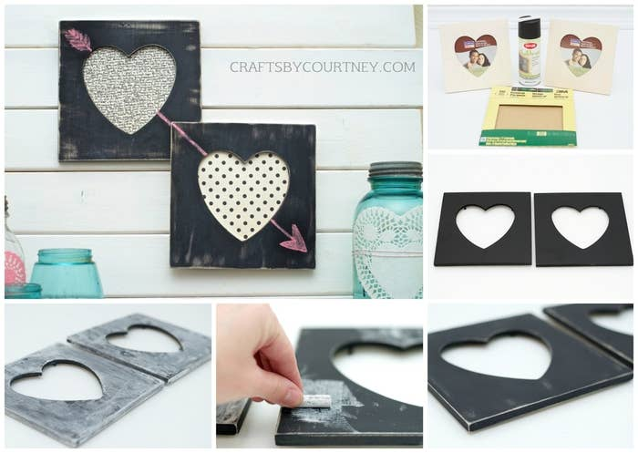Courtney from Crafts by Courtney made these adorable, easy-to-create chalkboard frames. With the right photo, they make the perfect gift.Materials: wooden heart frames (from any craft store), chalkboard spray paint, sandpaper, and white chalk.1. Spray two coats of the chalkboard paint on the frames, and allow to dry for 24 hours.2. To give your frames a rustic and aged look, go over them heavily with sandpaper. When done, wipe down your frames with a cloth to remove the paint dust.3. Go over the frames with a piece of white chalk, rubbing the chalk all over the frame (this sets the chalkboard). Then lightly wipe off all excess chalk with a cloth.4. For the final touch, add some scrapbook paper for the background or stick in a photo. Then draw on the frame with chalk!