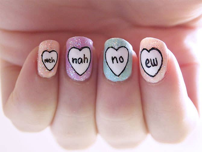 26 ridiculously sweet valentines day nail art designs of course if youre a valentines day hater you can always opt for this prinsesfo Images