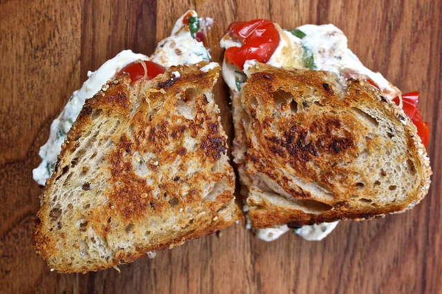 """Lasagna Grilled Cheese -  Ricotta, tomato, and basil will never sign up for an OkCupid account """"just to take the quizzes."""""""