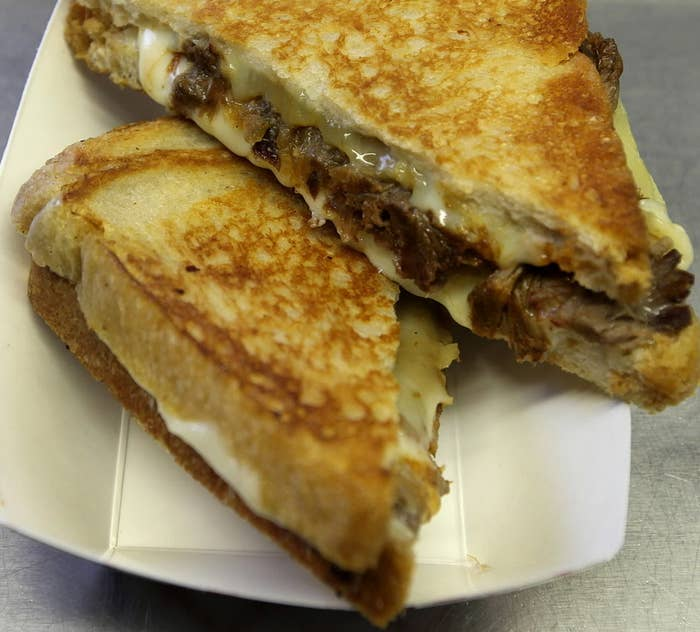 The guys of Roxy's Grilled Cheese, a Boston-based food truck that was on the Food Network's The Great Food Truck Race, sure know how to make a passerby's mouth water. This gem, consisting of barbecued beef, fontina and caramelized onions is such a heavenly combination that will leave your taste buds wanting more.
