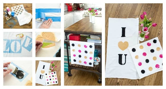 Give your favorite cook or foodie kitchen towels that'll remind them how much you care. Emily from Handmaker of Things shares this tutorial.Materials craft paint in colors of your choice (towels shown embrace the gold and bright pink trend with a bit of black), letter stencils, stencil pouncer (the one pictured is from a set of 6 or 7 different sizes) or styrofoam headed paintbrush, double-sided tape, plain white kitchen towels made of cotton or linen (not terry cloth or textured; the ones pictured are from a four pack of white flour sack towels from Target, just $3,99), polka dot stencil and painters tape (optional).1. Wash and dry your towels, then press to make sure they're nice and flat. Lay out your towel, make sure to put either newspaper, cardboard, or some other protective surface behind it as the paint will likely bleed through. 2. Take your letter stencils and arrange them on your towel as desired. Once they're where you want them, secure in the corners with double sided tape, so they won't move as you add your paint. Emily created her heart stencil by folding a piece of heavy paper in half and cutting the shape. 3. Load your stencil pouncer or brush with paint. Dab some of the paint off on a piece of cardboard so you don't have too much. Begin to dab the pouncer or brush over your stencil. Be careful to not go over the edges, keeping your color inside the letters. Continue to fill in carefully until you have nice solid color. You can also let the first coat dry and add another for more saturated hues. 4. Once paint is dry carefully remove your stencil. Wash again, delicate setting, without other clothes or items, then re-press. You're finished! Emily decided to create a complimentary towel with a polka dot pattern on it. To do the same, follow steps one and two. Then load the pouncer with paint and stamped it directly onto the towel to create my polka dot pattern. Polka dots not your thing? How about a fun stripe pattern? Use painters tape to create stripes. Follow all the steps, applying the paint between your tape strips.