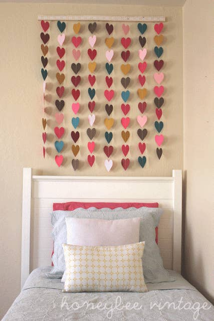 You can use scraps you already have lying around or paint chips  Get these  directions. 24 Creative Ways To Decorate Your Place For Free