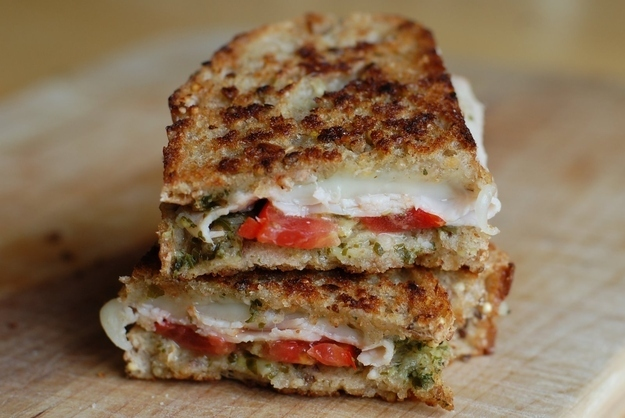 Turkey Pesto Grilled Cheese -  I can't come over tonight, I'm saving myself for turkey, provolone, pesto, and tomatoes.