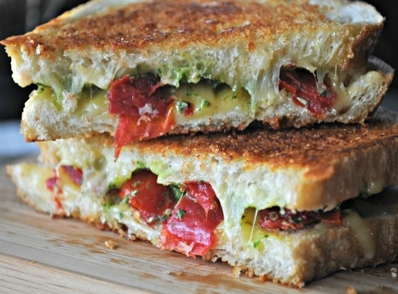 Grilled Cheese with Spicy Havarti, Cilantro Pesto, and Roasted Tomatoes -  What is love?