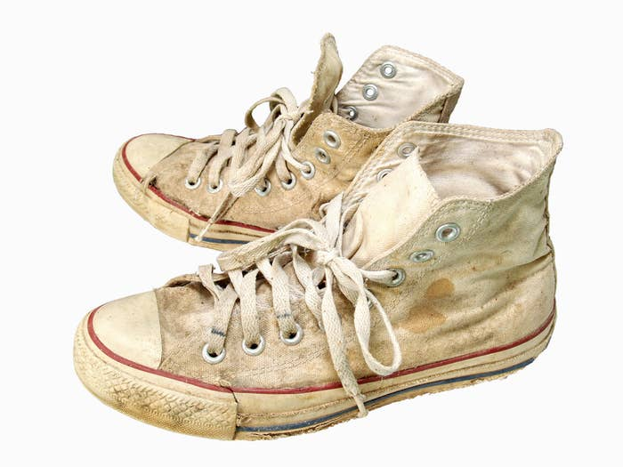 I know, they have so much sentimental value! You ran from the cops in them, that one night you were at TJ's house, and you got away! (TJ wasn't so lucky.) And maybe if you just put them through the wash — like, two or three times — and found a good cobbler, you could save them, right?Wrong. There are many more shoes in the world and your feet will thank you for it. Toss that ish NOW. (And if you want to get rid of shoes that are in more serviceable condition, donate them to an organization like Soles4Souls.)
