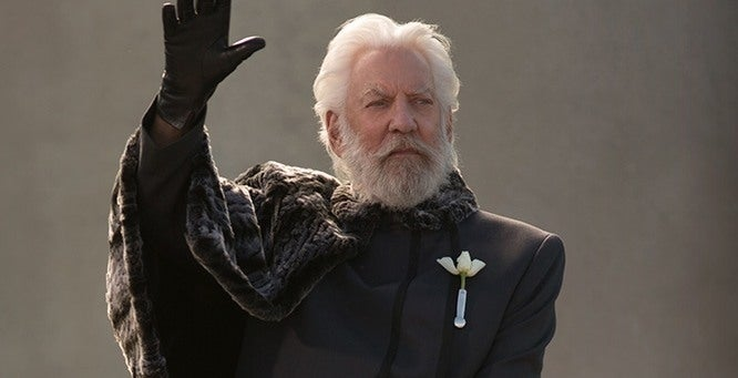 The man is the #1 jerk in the movie, but he does have style! We're kind of obsessing over the fur cape thing President Snow has going on there.