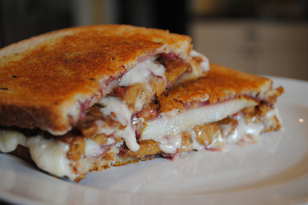 """Vegan Pear, Raspberry, and Tempeh """"Bacon"""" Grilled """"Cheese"""" -  You won't miss the meat — or the significant other."""