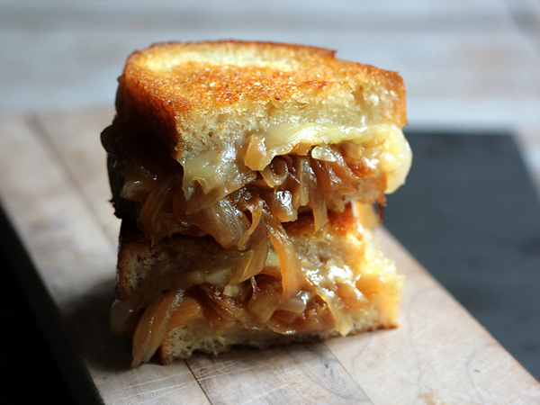 French Onion Soup Grilled Cheese -  Caramelized onions are way tastier than a box of Whitman's caramels from Rite Aid.
