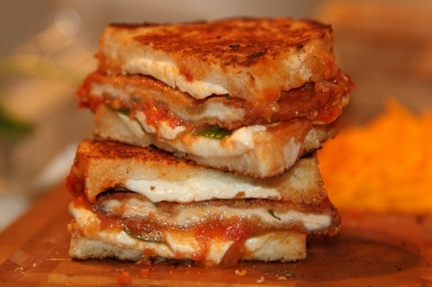 Chicken Parm Grilled Cheese -  You'd better believe this sandwich is tall, dark, and handsome.