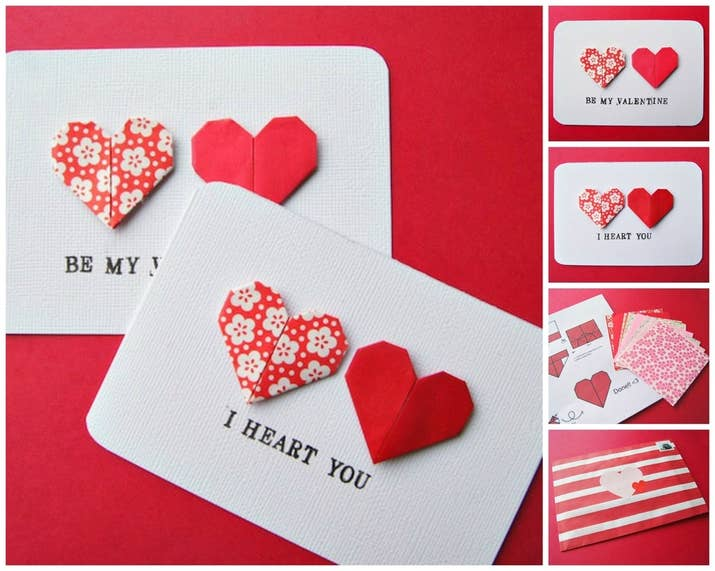 make this classy little cards by folding your own origami hearts as done here