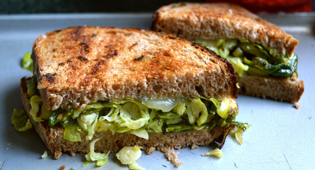 Brussels Sprouts and Fontina Grilled Cheese -  Unlike your boyfriend's hipster beard, these Brussels sprouts are well shaven.