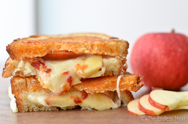 Grilled Cheese and Apple Sandwich with Sriracha Butter -  Sriracha comes before sex.